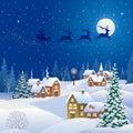 Christmas night village and Santa Claus sleigh Royalty Free Stock Photo