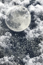 Christmas Night Winter Background With Dark Sky, Moon, Stars, Cl Royalty Free Stock Photo