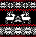 Christmas nordic pattern on black Stock Images