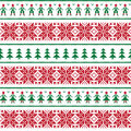 Christmas nordic seamless pattern with men and women winter repetitive background scandynavian kntting style Stock Photography