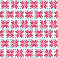 Christmas nordic seamless pattern winter red and blue background scandynavian kntting style Stock Photo