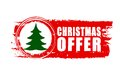 Christmas offer and christmas tree on red drawn banner text sign business holiday concept Royalty Free Stock Photography