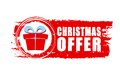 Christmas offer and gift box on red drawn banner text sign business holiday concept Stock Photos