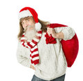 Christmas old man with beard in red hat carrying santa claus bag over white backgrouns Stock Photos