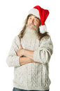 Christmas old man with beard in red hat santa claus funny parody over white background Royalty Free Stock Photography