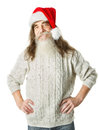 Christmas old man with beard in red hat santa claus funny parody over white background Royalty Free Stock Image
