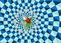Christmas and optical illusion symbol in an of rotation Royalty Free Stock Photo