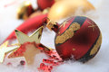 Christmas ornament and golden star Royalty Free Stock Photo