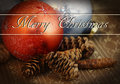 Christmas ornament and pine cones Stock Images