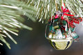 Christmas Ornament on Pine Tree Stock Photo