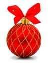 Christmas ornament red bauble with bow over a white background Royalty Free Stock Image