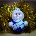 Christmas Ornament, Stuffed Snowman, Reindeer with rattle Royalty Free Stock Photo