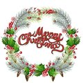 Christmas ornamental circular frame. Holly and fir branches with leafs berries and cones. Christmas greeting card