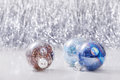Christmas ornaments balls on glitter bokeh background with space for text. Xmas and Happy New Year Royalty Free Stock Photo