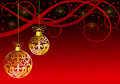Christmas ornaments balls on red Royalty Free Stock Photo