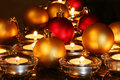 Christmas ornaments, candles Stock Image