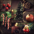 Christmas ornaments collage series of rustic xmas and decoration tree reindeer lolipop candy Stock Images