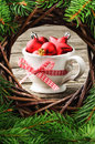 Christmas ornaments in festive setting red Royalty Free Stock Photo