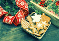 Christmas ornaments and gingerbread cookies retro style vintage still life toned picture Royalty Free Stock Photo
