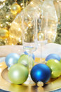 Christmas ornaments & glasses Stock Photo