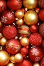 Christmas ornaments high resolution image of red and golden Stock Photos
