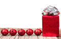 Christmas ornaments and present Royalty Free Stock Image