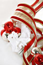 Christmas Ornaments and Ribbon Stock Photo