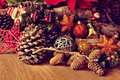 Christmas Ornaments On A Rusti...