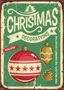 Christmas ornaments sale vintage tin sign Royalty Free Stock Photo