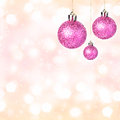 Christmas ornaments with shiny festive balls festive background golden lights and copy space for greeting text Royalty Free Stock Image