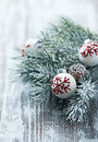 Christmas ornaments and spruce branch white balls close up Stock Photo