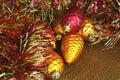 Christmas Ornaments and Tinsel Garland Stock Image