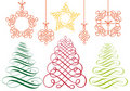 Christmas ornaments, vector set Stock Photo