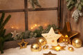 Christmas ornaments on window sill - country style decoration for a greeting card Royalty Free Stock Photo