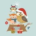 Christmas owl family Royalty Free Stock Photo