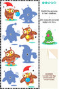 Christmas owls shadow game visual puzzle match the pictures of cute to their shadows answer included Royalty Free Stock Photos