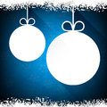 Christmas paper balls on blue background. Royalty Free Stock Photo