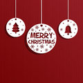 Christmas paper decoration hanging decorations on red background eps format with transparencies Stock Photography