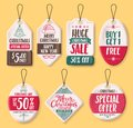 Christmas paper sale tags vector set with discount text like special offer Royalty Free Stock Photo
