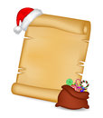 Christmas paper scroll card with santa cap and santa sack bag with candies vector illustration isolated on white background Royalty Free Stock Photos