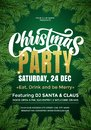 Christmas Party banner template with text and fir tree branches border. 24 December music club Xmas party celebration invitation