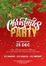 Christmas party celebration, invitation poster template, flyer or banner with red festive background and Christmas decorations on Royalty Free Stock Photo