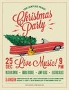 Christmas Party Flyer or Poster Template. Vintage styled vector illustration. Royalty Free Stock Photo