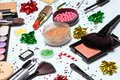 Christmas party glistening makeup, bright New Year make-up Royalty Free Stock Photo