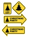 Christmas Party Humourous Yellow Road Arrow Signs Set. Vector illustrations