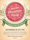 Christmas party invitation with a big red label ornaments and ribbon vector format Royalty Free Stock Image