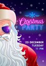 Christmas party invitation with cool santa claus