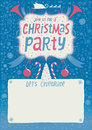Christmas party invitation greeting card poster or background with hand lettering typography author s illustration Royalty Free Stock Photo