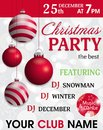 Christmas party invitation template with hung red baubles. Decorative balls elements for holiday design. Vector