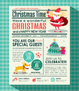 Christmas party poster background in newspaper style